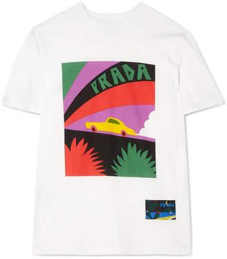 Prada Printed Cotton-jersey T-shirt - White