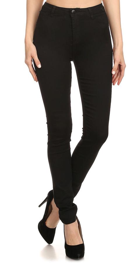 Black High-Waist Push-Up Skinny Jeans