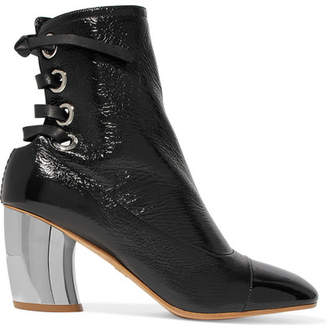 Lace-up Glossed Textured-leather Ankle Boots - Black