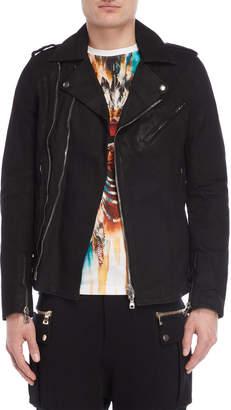 Balmain Black Coated Denim Jacket
