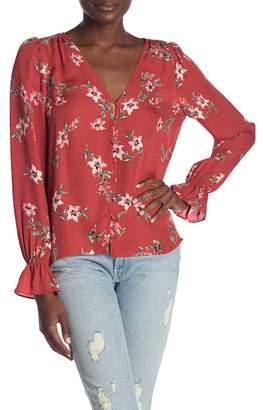 Joie Bolona Front Button Floral Print Silk Blouse