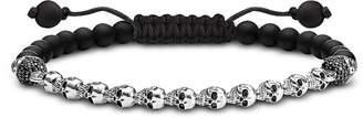 Thomas Sabo Blackened 925 Sterling Silver, Black Obsidian & Zirconia Skulls Bracelet