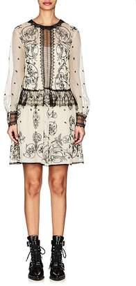 Alberta Ferretti Women's Floral-Lace-Embellished Mesh Minidress