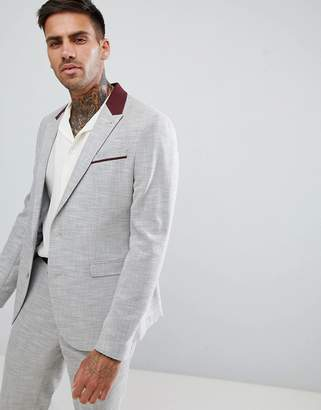 Asos Design Skinny Suit Jacket In Light Grey Texture With Floral Lining