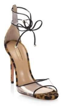 Aquazzura Aquazzura Women's Optic Leopard Calf Hair Sandals - Caramel - Size 35 (5)