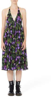Marc Jacobs Plum-Print Midi Halter Dress