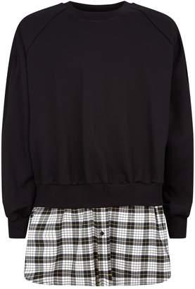 Juun.J Check Hem Sweatshirt