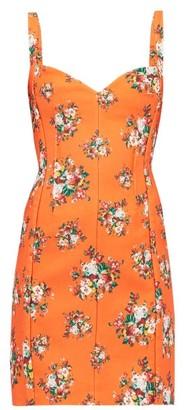 Emilia Wickstead Fyfe Floral Print Cloque Mini Dress - Womens - Orange Multi