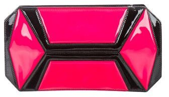 Alexander McQueenAlexander McQueen Patent Leather Geometric Paneled Clutch