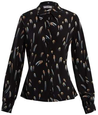 Rockins - Shooting Star Print Point Collar Silk Blouse - Womens - Black Gold