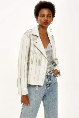 Topshop Leather Diamante Biker Jacket