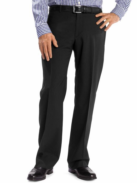 Modern relaxed black wool pinstripe pant
