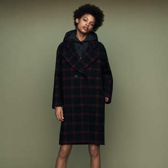 Maje Plaid coat with removable down