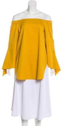 Tibi Off-The-Shoulder Long Sleeve Blouse