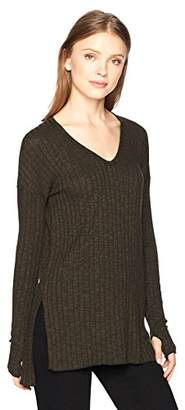Michael Stars Women's Jasper Poorboy V-Neck Long Sleeve Tunic with Slits
