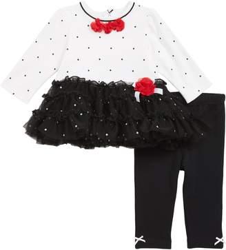 Little Me Rose Dots Tutu Dress & Leggings Set