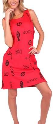 Ingear Beach Short Tank Cotton Dress (, Red/Black)