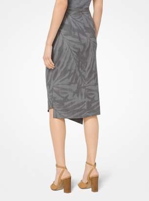 Michael Kors Palm Stretch-Wool Draped Skirt