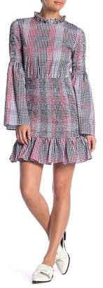 ENGLISH FACTORY Smocked Checkered Dress
