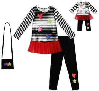 Dollie & Me Striped Tunic, Legging And Purse, 3-Piece Outfit Set With Matching Doll Outfit (Little Girls And Big Girls)