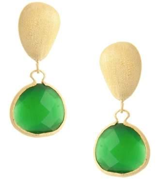 Rivka Friedman 18K Gold Clad Faceted Green Cat's Eye Crystal & Satin Pebble Drop Earrings
