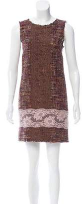 Dolce & Gabbana Lace-Paneled Tweed Dress