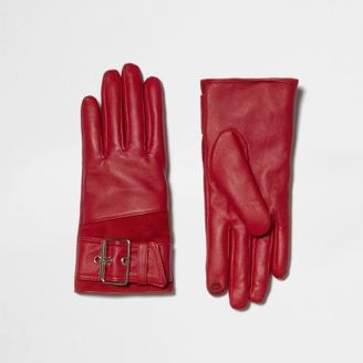 River Island Womens Red leather buckle faux fur lined gloves