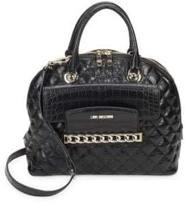 Love Moschino Quilted Faux Leather Satchel