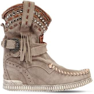 EL VAQUERO 70mm Yara Studded Suede Wedge Boots