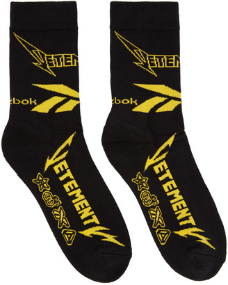 Vetements Black Reebok Edition Metal Socks $85 thestylecure.com