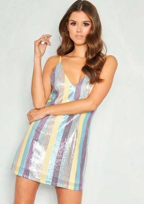 Missy Empire Missyempire India Multicoloured Stripe Sequin Mini Dress 69da08ae4