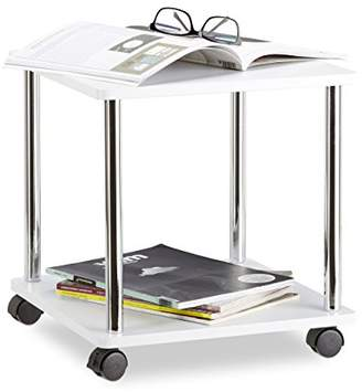 Camilla And Marc Relaxdays Wooden Side Table, Multipurpose Cart on 4 Castors, Small Coffee Table & Kitchen Trolley, Square, HWD: 41.5 x 40 x 40 cm, White