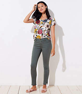 LOFT Tall Modern Slit Frayed Skinny Jeans in Lush Lilac