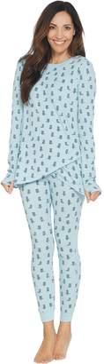 Anybody AnyBody Loungewear Cozy Knit Waffle Printed Pajama Set