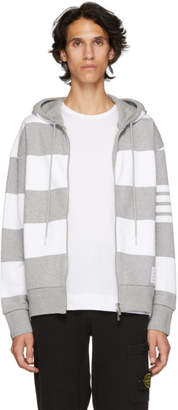 Thom Browne Grey and White Rugby Stripe Zip-Up Hoodie