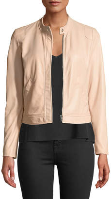Rebecca Taylor Perforated Zip-Front Leather Jacket