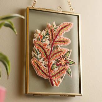 Lucy Freeman Design Gold Framed Fern Botanical Embroidery Art
