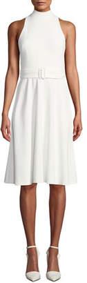 Black Halo Lylah Full Skirt Halter Dress with Belt
