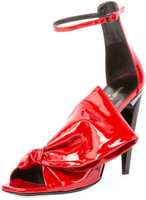 Saint Laurent Freja Patent Sandal with Large Bow