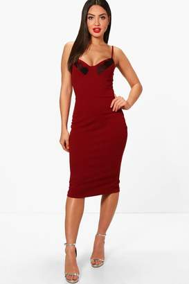 boohoo Lace Cup Detail Strappy Midi Dress