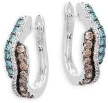 LeVian Le Vian ExoticsVanilla Diamonds®, Chocolate Diamonds®, Iced Blueberry Diamonds 14K Vanilla Gold Wavy Hoops