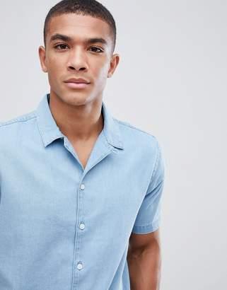 New Look regular fit denim shirt in light blue wash