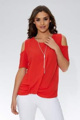 Quiz Orange Twist Hem Cold Shoulder Necklace Top