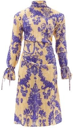 Acne Studios Deera Floral Print Silk Blend Dress - Womens - Blue Multi