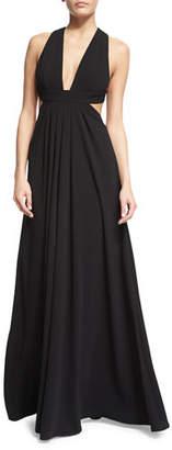 Jill Stuart Sleeveless Crisscross-Back Pleated Gown