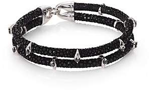 Black Diamond StingHD StingHD Men's Black Diamond, Silver& Stingray Wrap Bracelet
