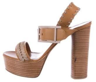 Aquatalia Leather Ankle Strap Sandals