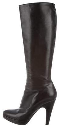 Prada Leather Platform Knee-High Boots
