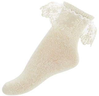 Monsoon Baby Sparkle Flower Lace Socks