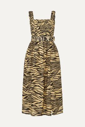 Nicholas Belted Smocked Zebra-print Cotton And Silk-blend Midi Dress - Neutral